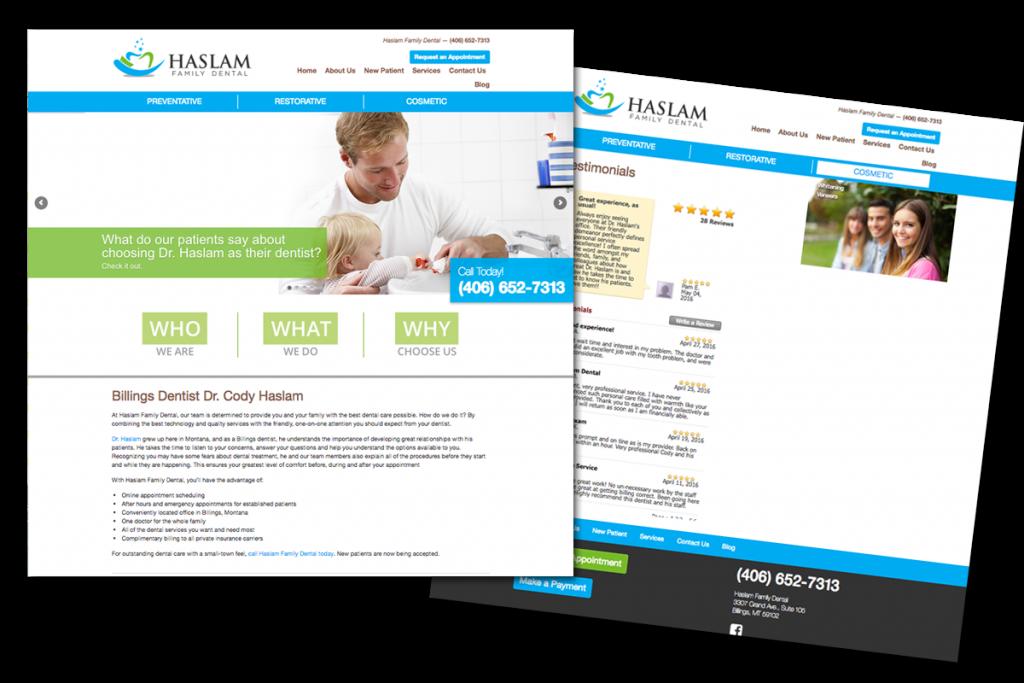 Website for Haslam Family Dental