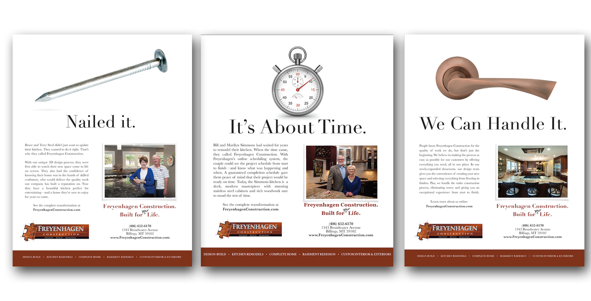 Freyenhagen Construction Print Ads with Box 117 Creative, Billings, MT